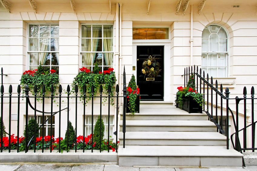image result for beautiful house natural wreath flower boxes red green