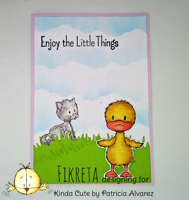 handmade card with a cat and a duck