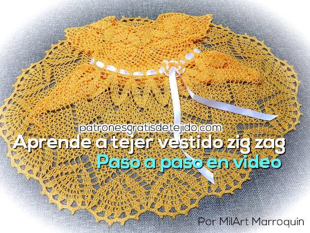 91274c80e Aprende a Tejer Vestido con falda zig zag paso a paso / Tutorial ...