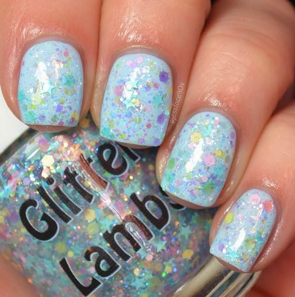 Baby Blue Eyeliner Glitter Lambs Nail Polish Swatch by JessFace90x