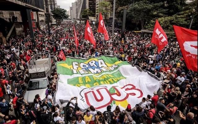 Manifestantes protestam contra o governo Temer na Avenida Paulista, em São Paulo