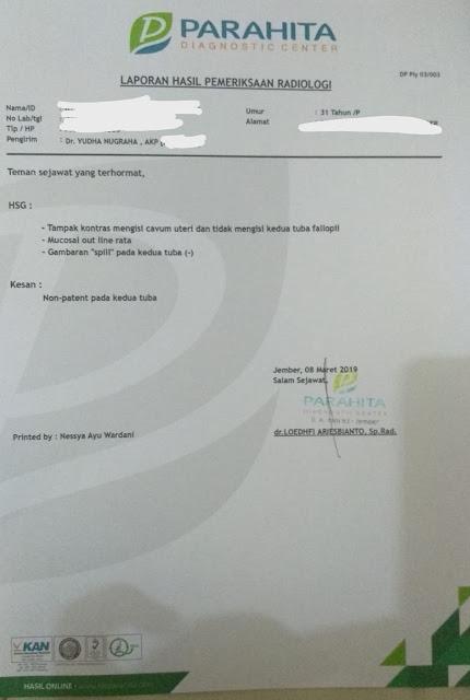 hasil HSG : Non patent pada kedua tuba