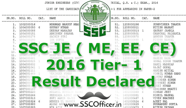 [Result] SSC JE ( ME, EE, CE) 2016 Tier-1 Result Declared Officially - Check Now- SSCOfficer