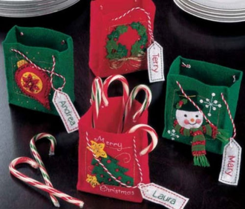 Kit for Christmas Mini Felt Bags for Gift or Party Favors