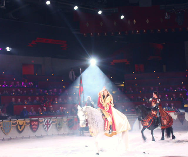 Welcoming the Queen of the castle at Medieval Times in Schaumburg.