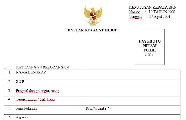 Download Daftar Riwayat Hidup Berdasarkan Kepka Bkn No 11 Tahun 2002