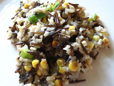 Brown and Wild Rice with Fried Corn