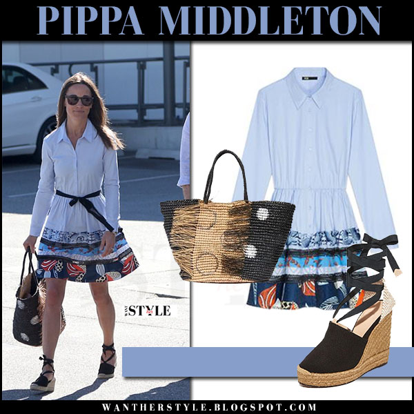 Pippa Middleton in light blue printed maje rafina dress and wedge castaner sandals honeymoon what she wore june 4 2017