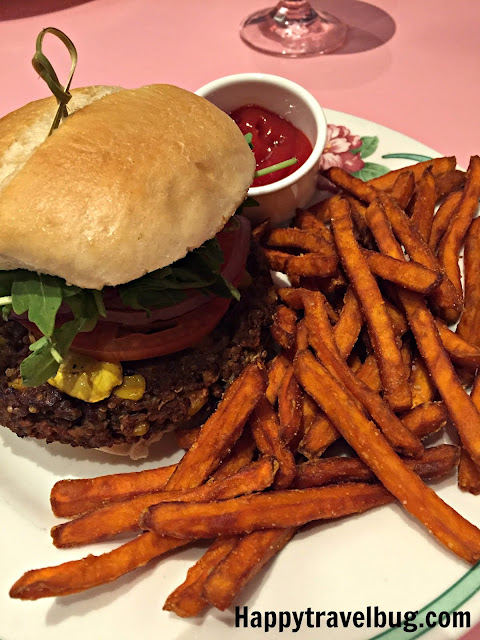 Veggie burger and sweet potato fries from the Greenbrier