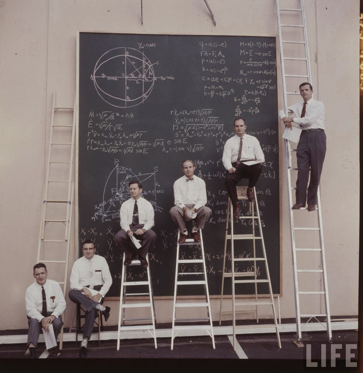 NASA scientists with their board of calculations 1961