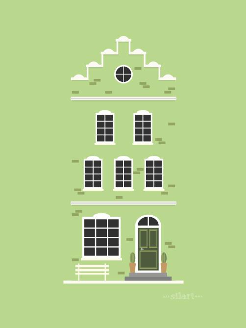 green house, residential building, flat design, vektorgrafik