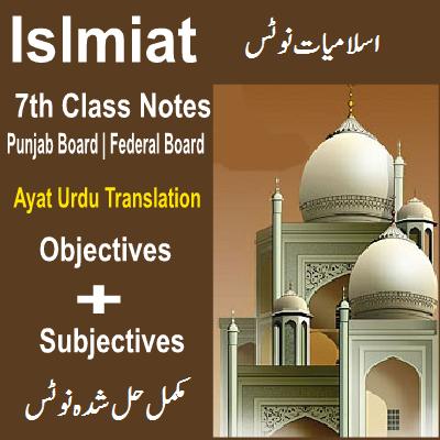 7th Islamiat Notes Federal / Punjab Board - Easy MCQs