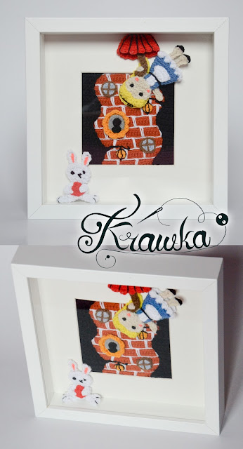 Krawka: Crochet picture frame - Alice falling down the rabit hole - pattern by Krawka