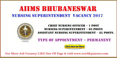 AIIMS Bhubaneswar Nursing Superintendent  Vacancy (On Deputation)  2017