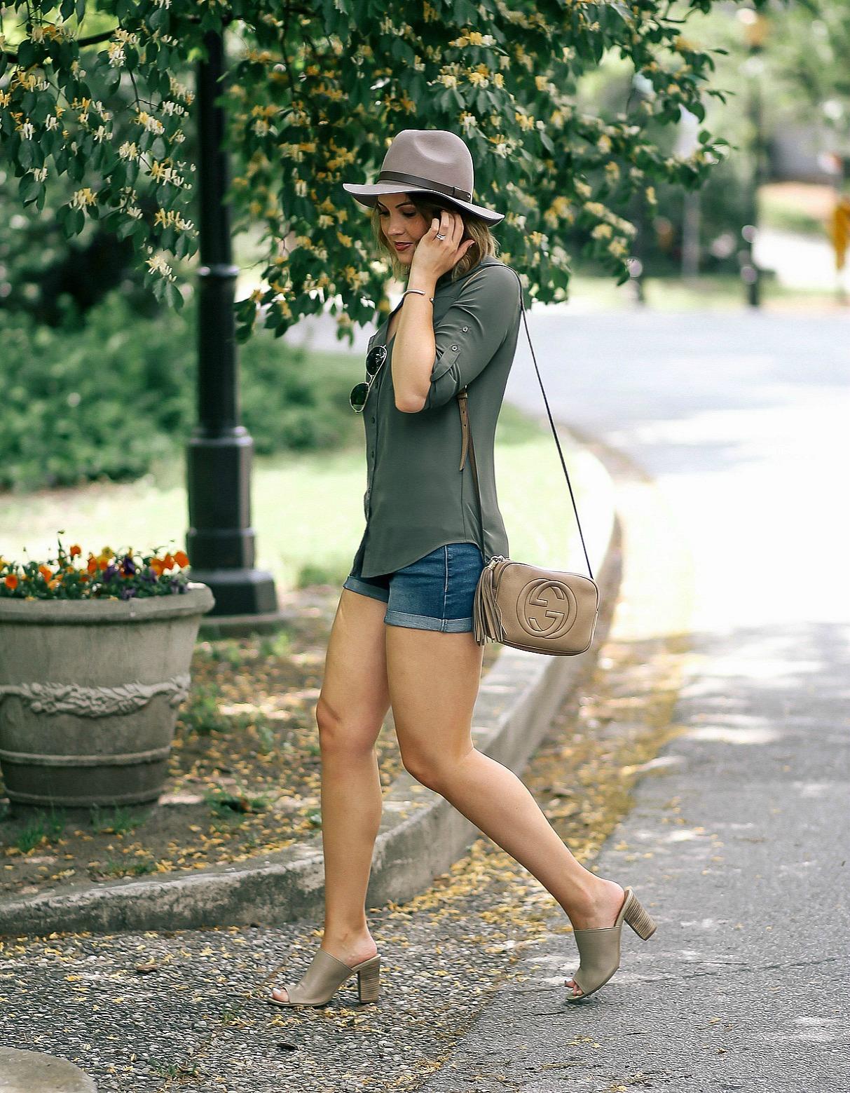 express portofino shirt, denim shorts