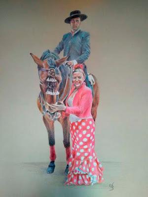 Retrato de un caballista montado en su caballo y mujer vestida de flamenco