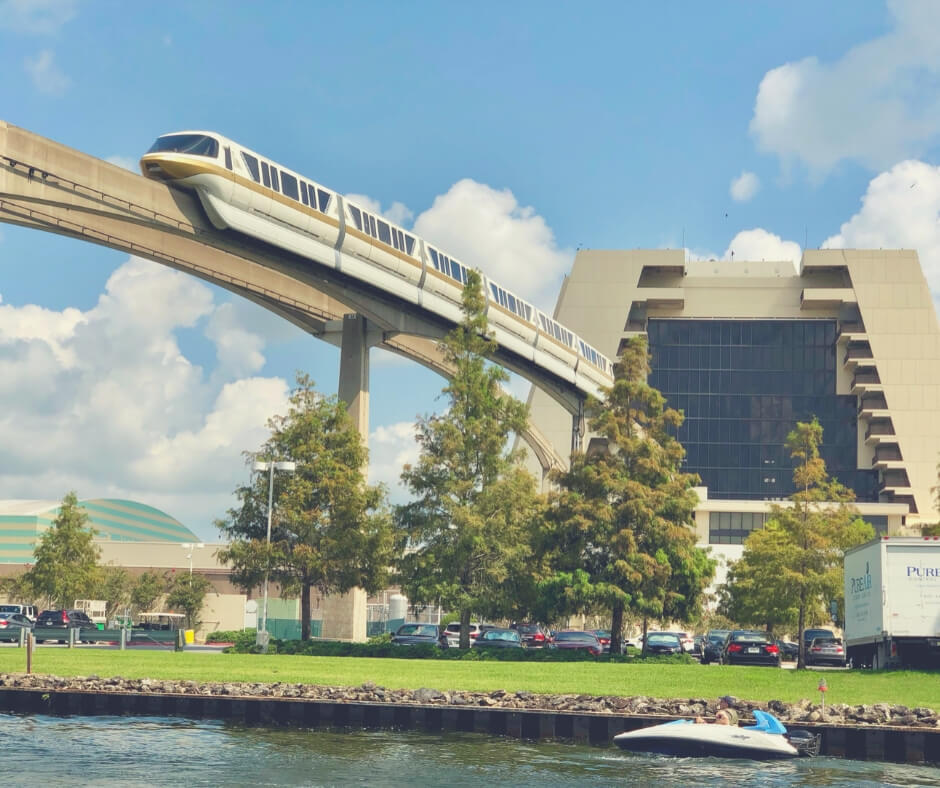 7 Ways To Save Money When In Walt Disney World | The monorail, coming out of the Contemporary Resort, is a great way to get around.