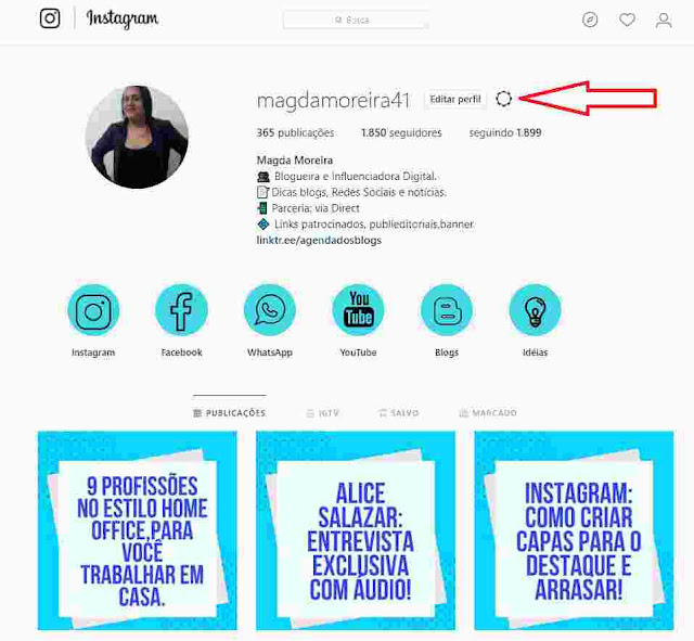Contas do Insrtagram