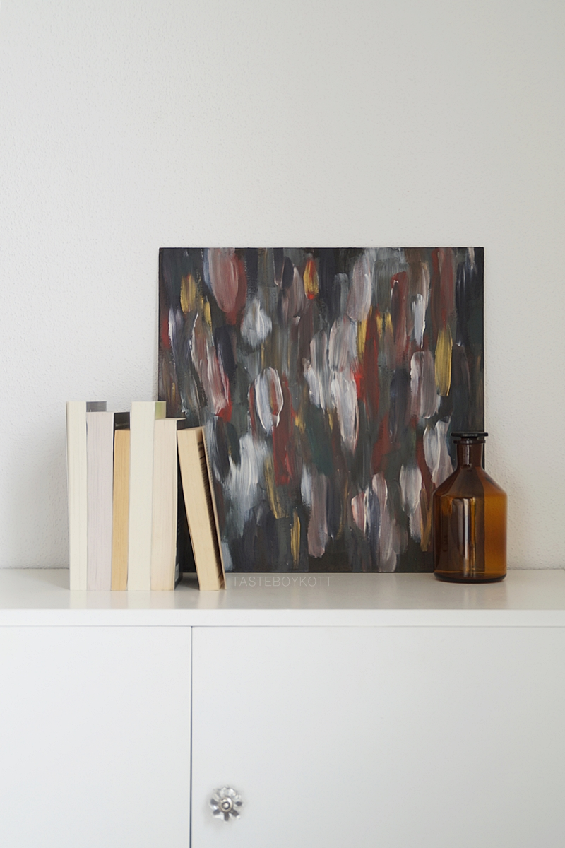 scandinavian decoration with abstract painting by me, books and vintage bottle