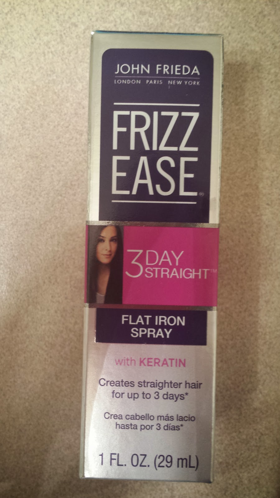 Influenster #JadoreVoxBox Review- John Frieda Frizz Ease Flat Iron Spray