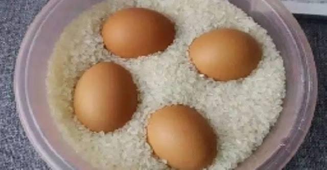 Ajaib, Coba Taruh Telur Mentah Kedalam Beras, Hasilnya Bikin Melongo