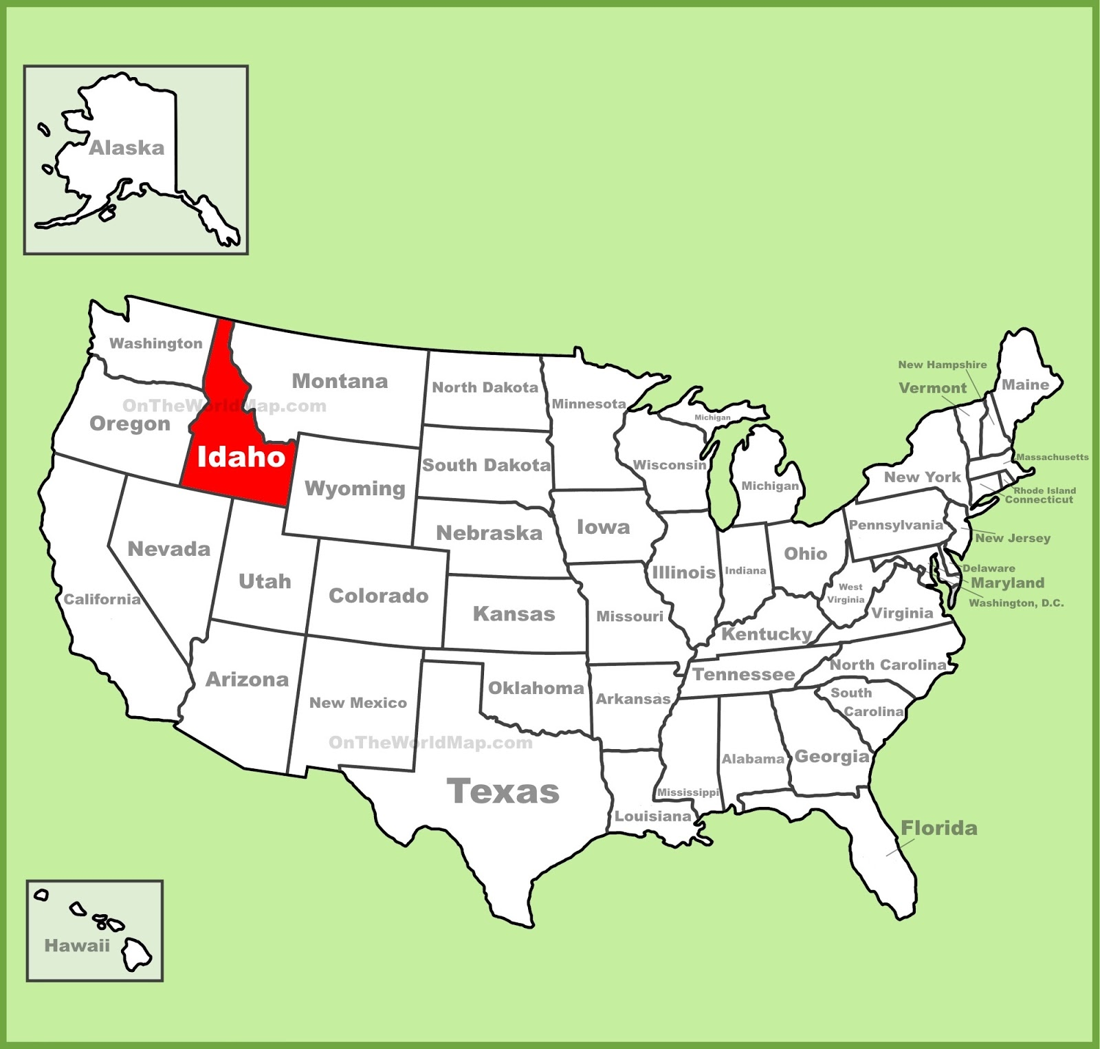 Idaho On Map Map of Idaho | State Map of USA