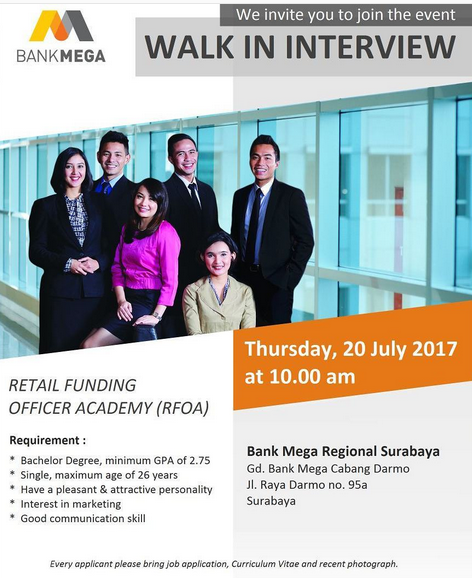 Walk In Interview PT Bank Mega Pendidikan Minimal S1