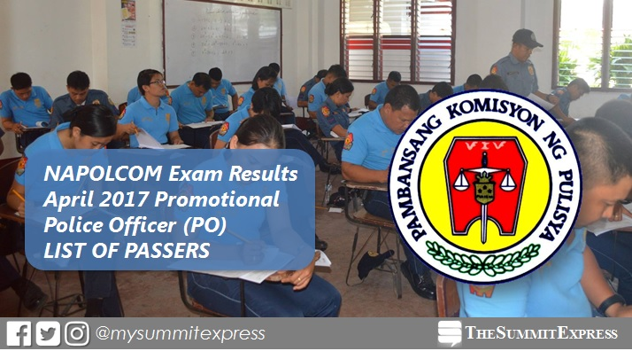 List of Passers: April 2017 Police Officer PO NAPOLCOM exam results