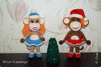 Новогодняя обезьянка крючком