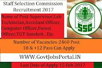 2460 Officers, Clerk & Engineer Posts under SSC Recruitment 2017