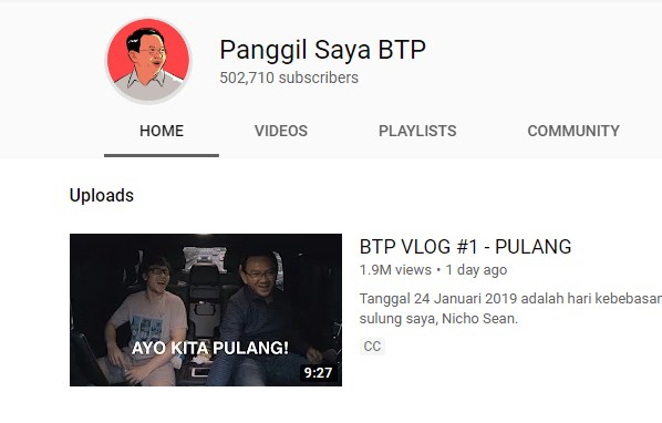 Panggil Saya BTP - Channel Youtube Ahok