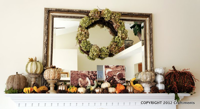 Craftiments:  Pumpkin and gourd autumn mantel
