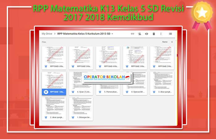 RPP Matematika K13 Kelas 5 SD Revisi 2017 2018 Kemdikbud
