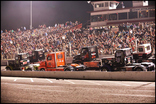 The Bandits line up in front of a sold out crowd at Hickory Motor Speedway in October 2017