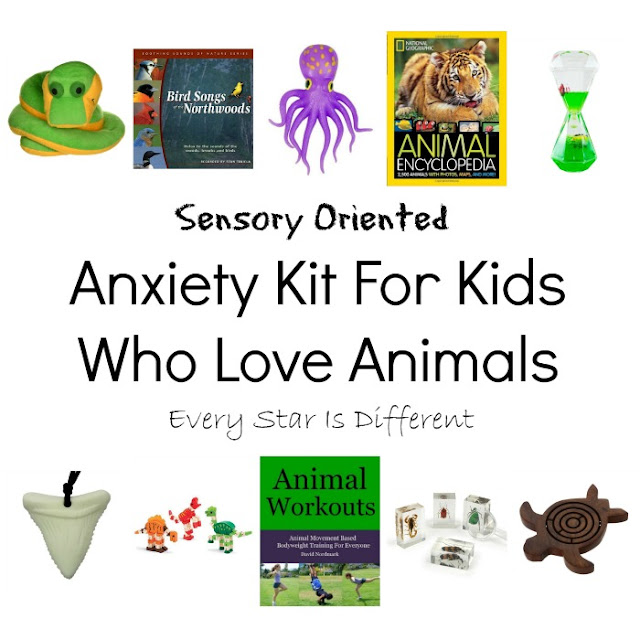Sensory oriented anxiety kit for kids who love animals