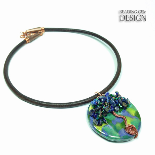 beading gem tree of life necklace