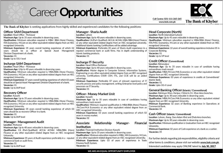 Jobs in The Bank Of Khyber Peshawar July 2017