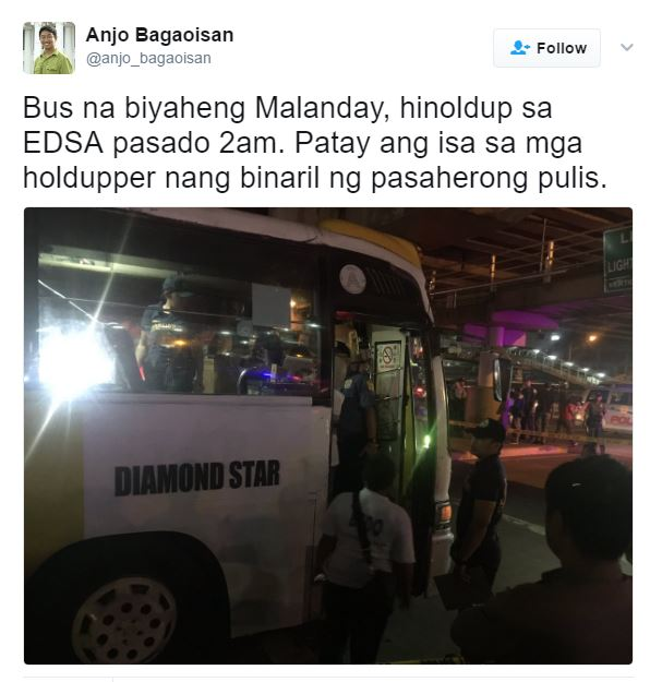 """Off Duty But Never Off Service, 'Real Life Cardo Dalisay' Kills Hold-upper in QC"""""""
