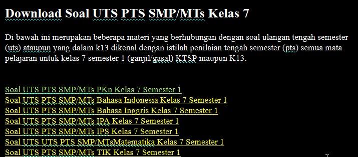 Soal UTS PTS SMP/MTs Kelas 7 Semester 1 Lengkap