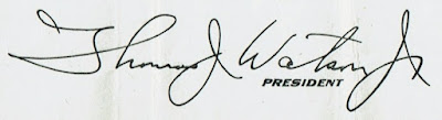 Thomas John Watson Jr. signature, second version of the signature