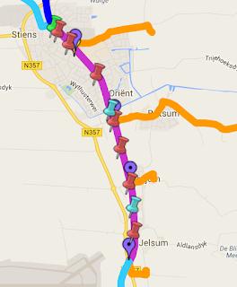 Het traject van het Dokkumer Lokaaltje op google maps
