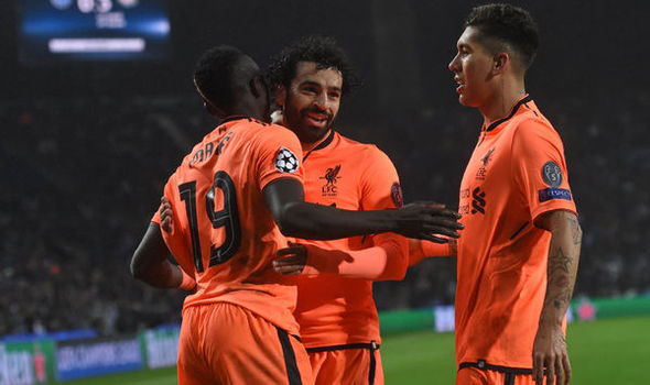 Firmino, Mane And Salah celebrate Liverpool Goal