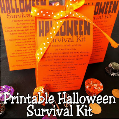 Stay safe this Halloween from all the Zombies, Vampires, and Ghosts out there with a printable Halloween survival kit. This Halloween printable is a great Halloween treat for your kids or friends and will keep them smiling all night long. #halloween #survivalkit #printable #diypartymomblog