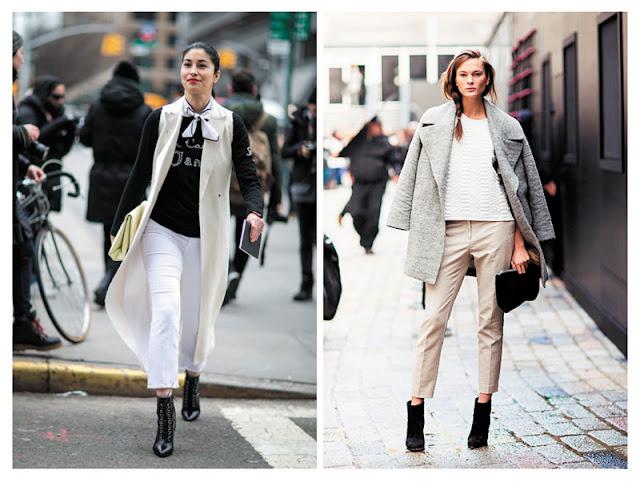 Укороченные брюки с завышенной талией образы с улицы