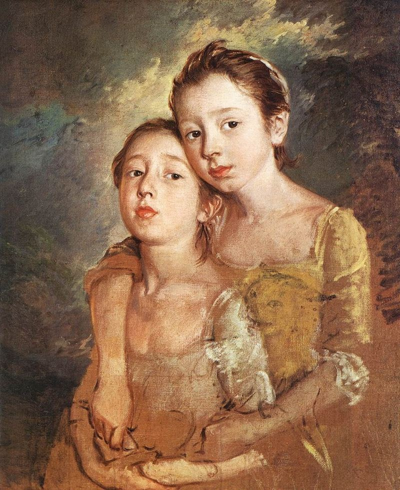 The Painter's Daughters with a Cat by Thomas Gainsborough, 1760-61