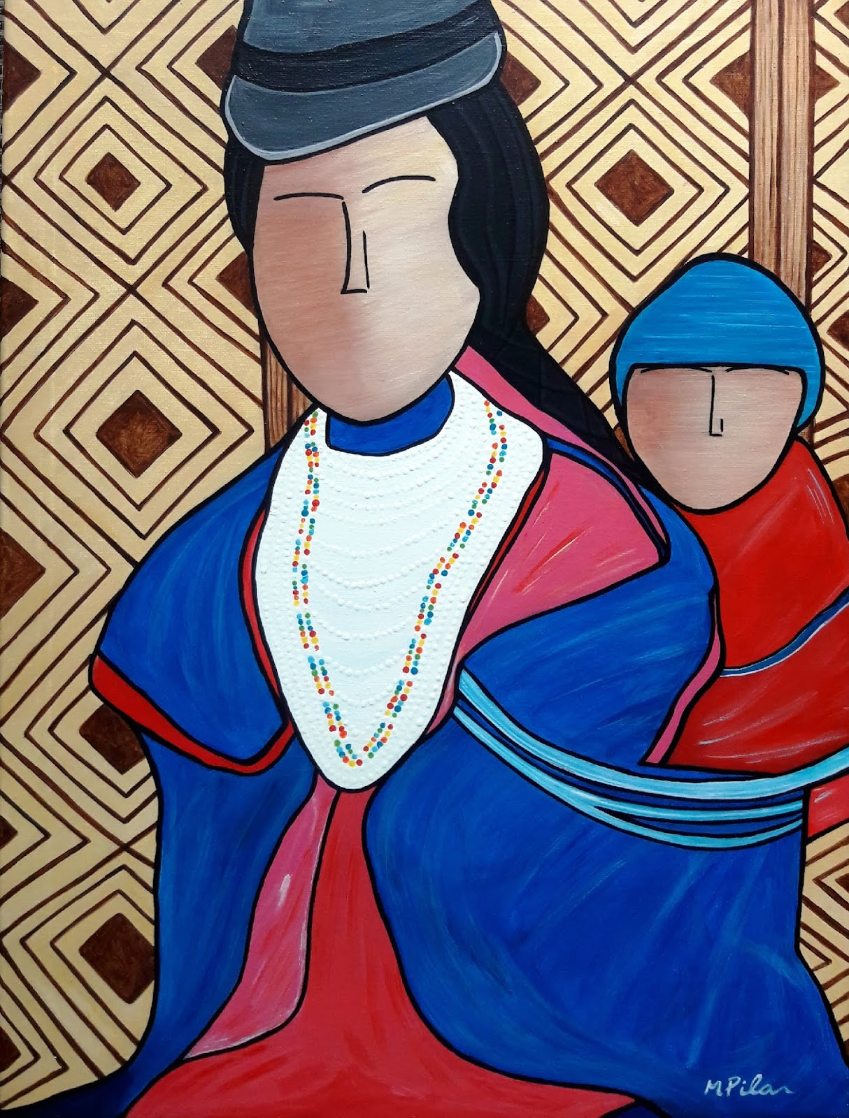 Acrylic Red and Blue Painting on Canvas with Mother and Child by Pilar Vargas