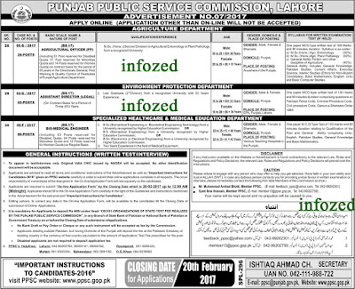 punjab public service commission ppsc jobs in agriculture department environment protection department speciliazed healthcare and medical education department