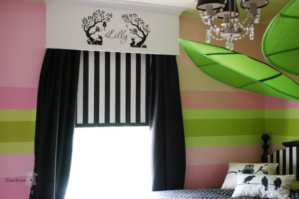 Black  white  pink and lime green girl s room   Cuckoo4Design Ikea leaves  black and white stripes and polka dots  vinyl wall decal   chandelier