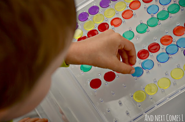 Math pattern practice for kids using a clear geoboard and transparent counters