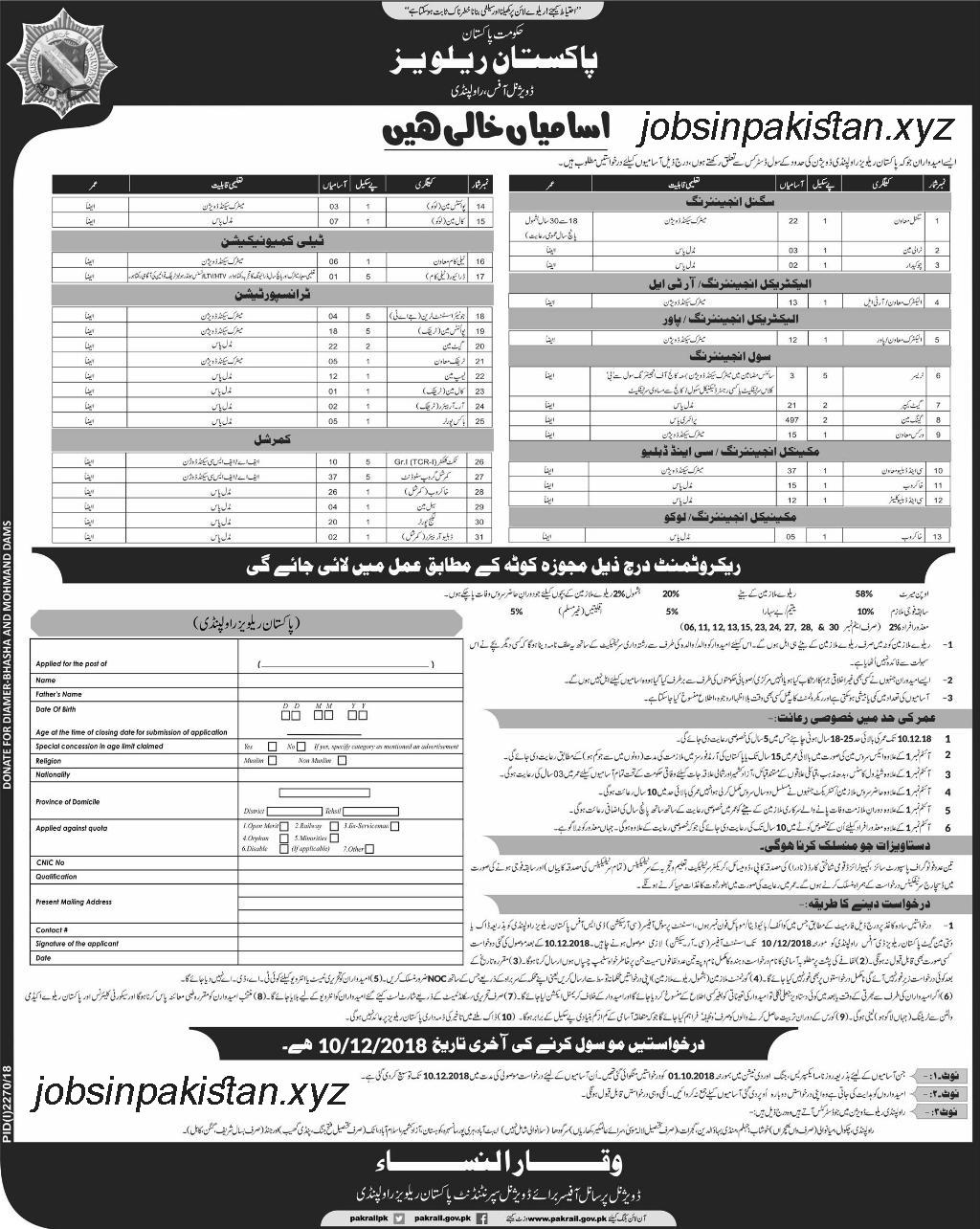 Advertisement for Pakistan Railway Rawalpindi Jobs 2018